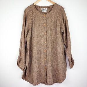 FLAX Jeanne Engelhart Linen Knit Long Tunic Shirt